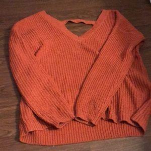 Orange v neck and vneck back sweater